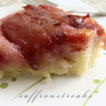 plum cake 'tatin' or upside down cake with red plums