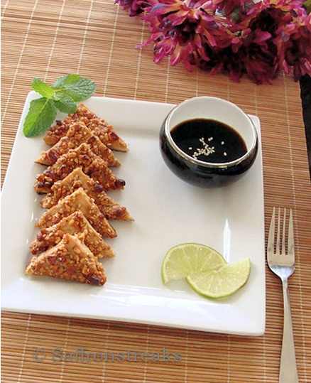 tofu with ginger sesame sauce crispy tofu triangles with asian dipping ...
