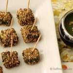 Spice crusted paneer tikka in green sauce / chutney – a different approach