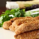 Guilt free crispy fish fingers with your choice of dips