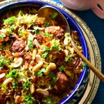 Shahi paneer kofta pulao / saffron soaked pilaf with caramelized onions and cheese balls